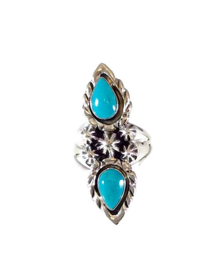 Pear 2-Stone Turquoise Ring with Stardrops .925 Sterling Silver