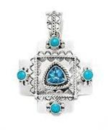 Sleeping Beauty Turquoise and Blue Topaz Stones Couture Cross Pendant .925 Sterling Silver Navajo Tribe Native American Jewelry