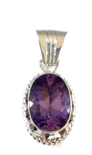 Oval Amethyst Stone .925 Sterling Silver Artist: Jimson Belin Navajo Tribe Native American Jewelry