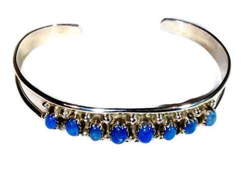 8-Stone Denim Blue Lapis Sterling Silver Cuff Navajo Tribe Native American Jewelry Handcrafted