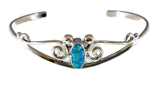 Oval Blue Opal Stone Drop Swirl Sterling Silver Cuff Bracelet Navajo Tribe Native American Jewelry Handcrafted