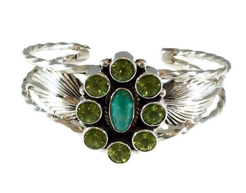 Round Peridot and Oval Kingman Turquoise Stones .925 Sterling Silver  Navajo Tribe Native American Jewelry Handcrafted