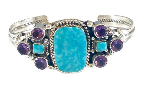 Amethyst and Kingman Turquoise Stones .925 Sterling Silver Navajo Tribe Native American Jewelry Handcrafted