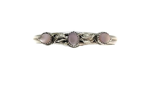 3 Round Pink Mussel Shell Leaf Cuff Bracelet .925 Sterling Silver Navajo Tribe Native American Jewelry Handcrafted