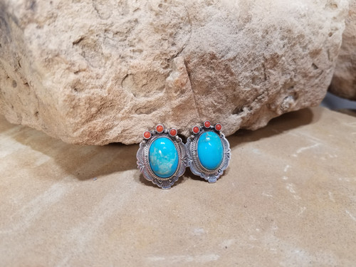 Chaco Canyon Turquoise and coral clip earrings