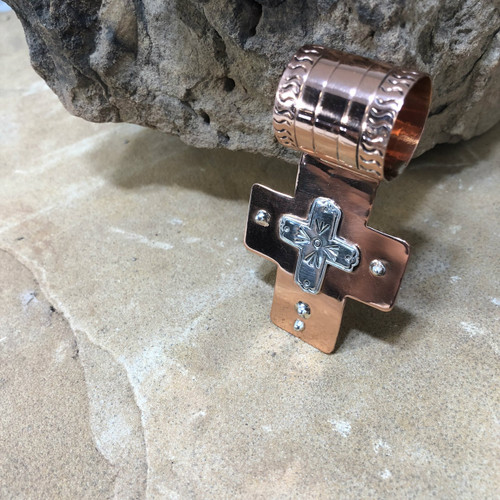 Chaco canyon Copper And Silver Cross Pendant