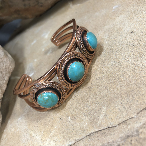 Chaco Canyon Trading Copper & Turquoise Cuff Bracelet
