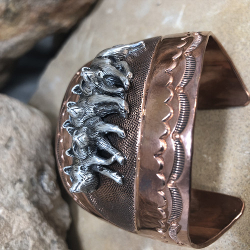 Chaco Canyon Wolf Copper Cuff Bracelet