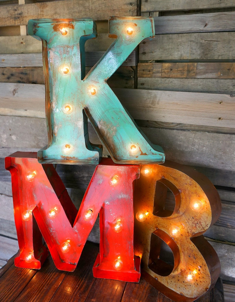 """18 Inch Metal Letters 18"""" Metal Marquee Letters  Sofia's Rustic Furniture"""