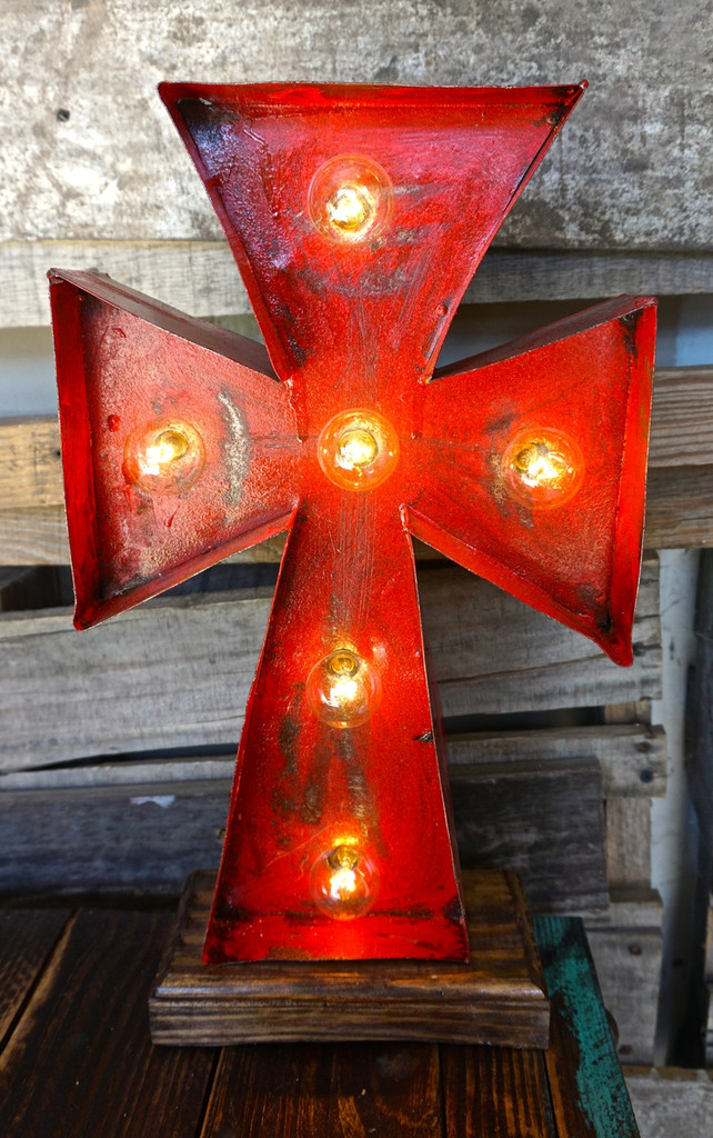 Cross 2 Metal Marquee in Red