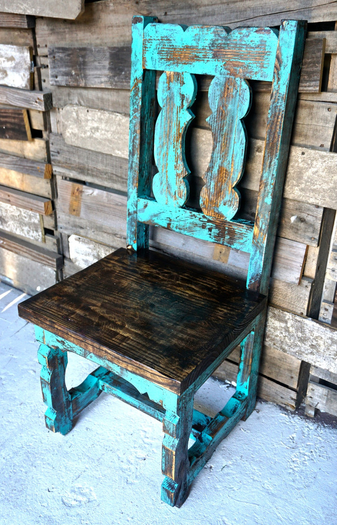Yoke Back Dining Chair in Turquoise
