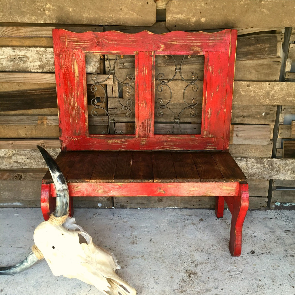 Inez Rustic Iron Bench in Red