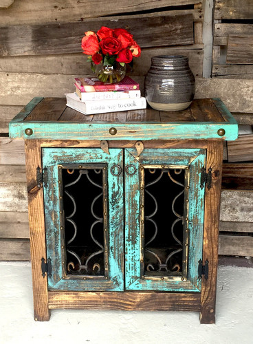 Iron Door Side Cabinet in Turquoise