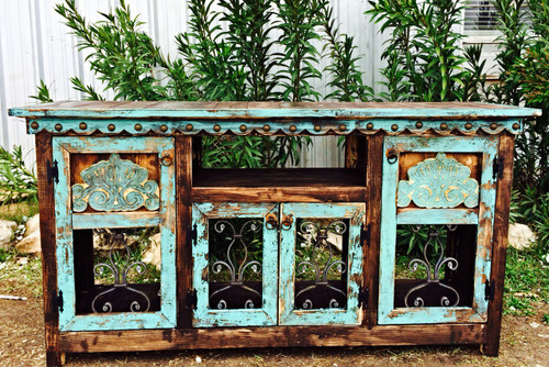 Agave Iron Buffet in Turquoise
