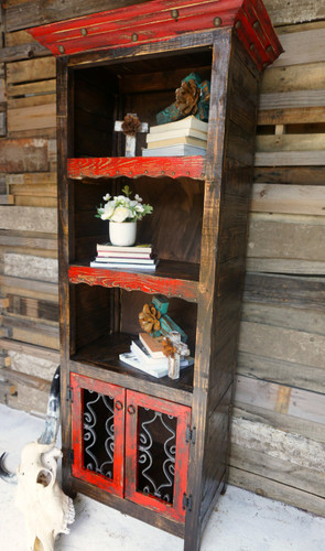Benito Rustic Bookcase shown in Red
