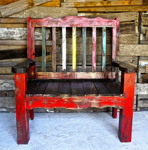 Zarape Rustic Bench Shown in Red