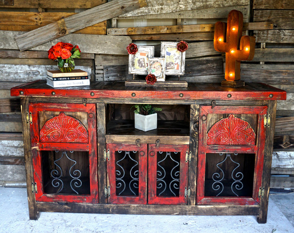 Agave iron buffet sofia39s rustic furniture for Kitchen colors with white cabinets with rustic iron candle holders