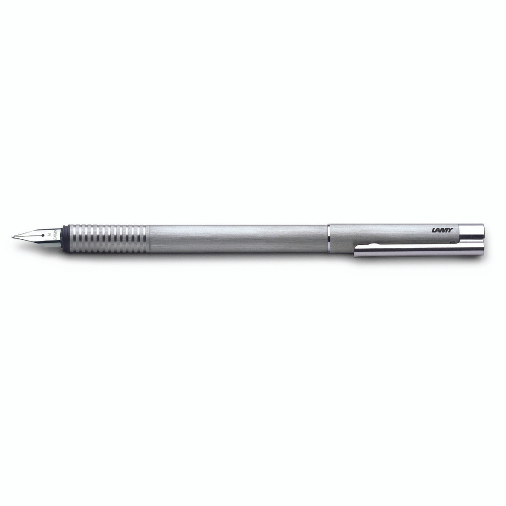 LOGO Brushed Steel Fountain Pen