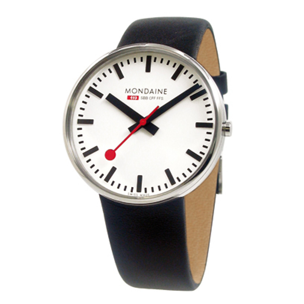 Giant Size 42mm - Black Leather Strap White Face