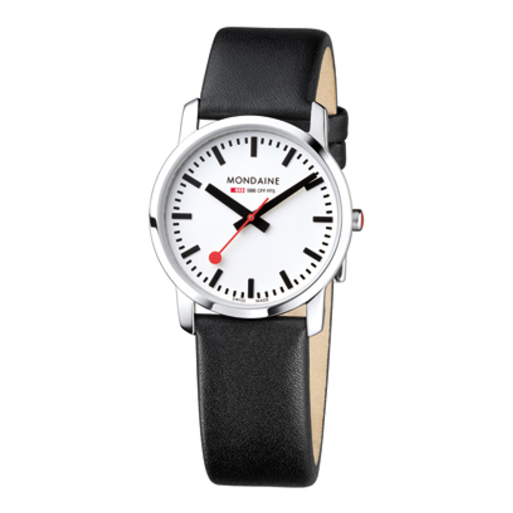 Simply Elegant 36mm - Black Leather Strap White Face Sapphire Glass