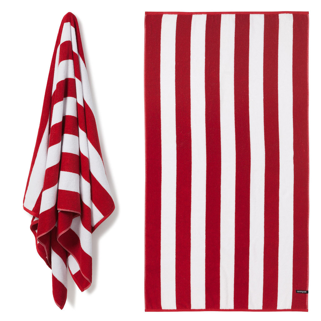 Cotton Terry Cabana Stripe Beach Towel - Red