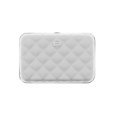 Quilted Button Wallet - Silver