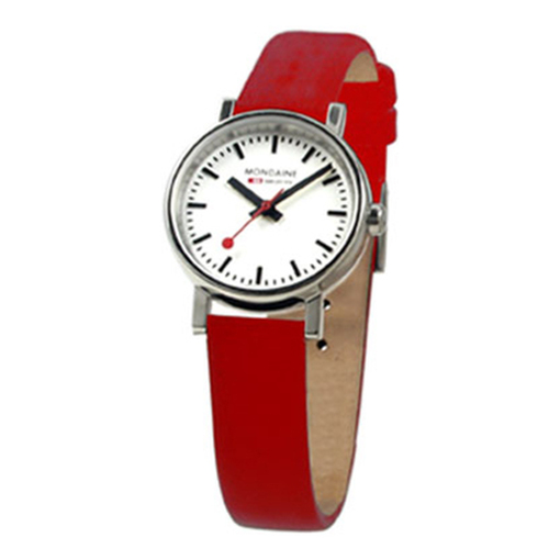 Evo 2 Petite 26mm - Red Leather Strap White Face