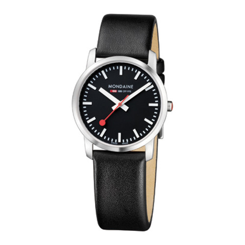 Simply Elegant 36mm - Black Leather Strap Black Face Sapphire Glass