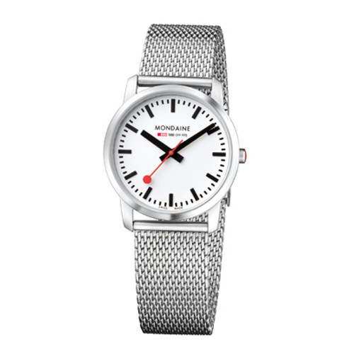 Simply Elegant 36mm - Stainless Steel Mesh Bracelet White Face Sapphire Glass