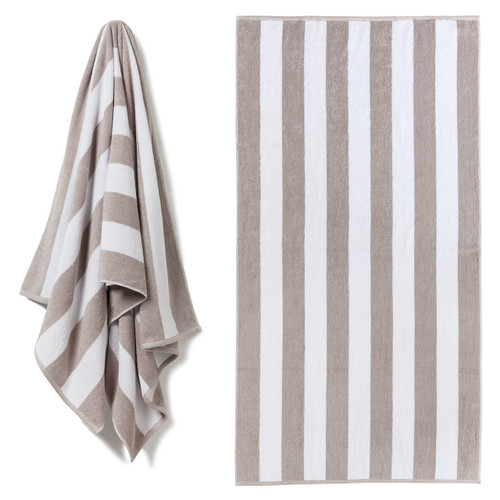 Cotton Terry Cabana Stripe Beach Towel - Stone