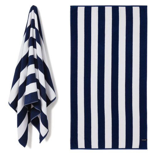 Cotton Terry Cabana Stripe Beach Towel - Navy