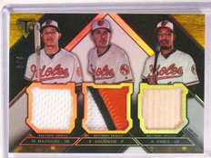 2016 Topps Triple Threads Gold Machado Gausman Jones patch bat #D6/9 *67563