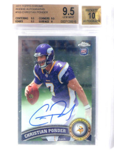 2011 Topps Chrome Christian Ponder autograph auto rookie #165 BGS 9.5 *42201