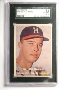 1957 Topps Eddie Mathews #250 SGC 82 = EX-NM+ Braves *52080