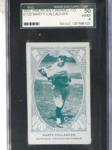 1922 American Caramel Co. E120 Marty Callaghan SGC 50 VG/EX *37633