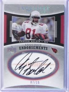 2005 Upper Deck Exquisite Endorsements Anquan Boldin auto autograph #D7/15 *3927