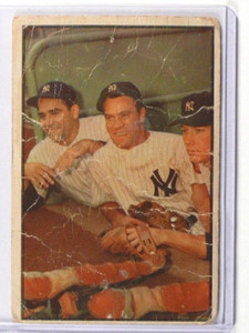 1953 Bowman Color MICKEY Mantle Yogi Berra & Bauer #44 Poor *36817