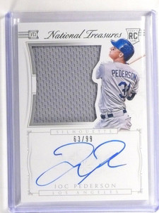 2015 National Treasures Joc Pederson autograph auto jersey rc #D63/99 #36 *52201