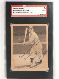 1939 Playball George Selkirk #25 signed Card autograph SGC Slabbed *49972