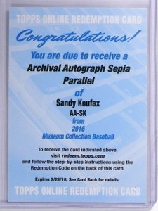 2016 Topps Museum Collection Sepia Sandy Koufax autograph auto sp/5 *55821