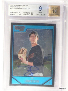 2007 Bowman Chrome Tim Lincecum autograph auto rc rookie BGS 9 MINT *43289