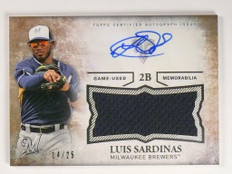 2015 Topps Triple Threads Luis Sardinas autograph auto jersey rc #D14/25 *50278
