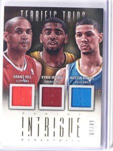12-13 Intrigue Trios Grant Hill Kyrie Irving Austin Rivers jersey #D7/49 #23 *42