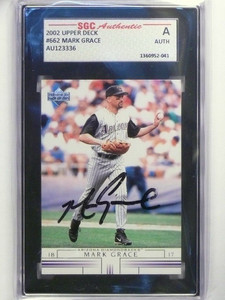 2002 Upper Deck Mark Grace #662 Autograph auto SGC Authentic Slabbed *48580