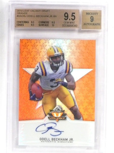 2014 Leaf Valiant Draft Orange Odell Beckham Jr. Autograph rc /99 BGS 9.5 *57658