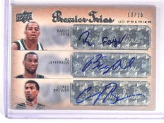 07-08 Ud Premier Trios Randy Foye Al Jefferson Brewer autograph #D13/15 *50604