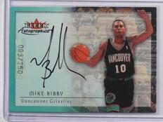 00-01 Fleer Autographics Silver Mike Bibby auto autograph #D83/250 *36967