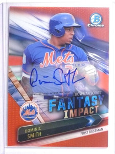 2016 Bowman Chrome Fantasy Impact Red Dominic Smith autograph rc #D4/5 *67661