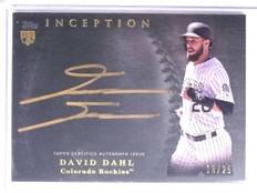 2017 Topps Inception Gold David Dahl autograph auto rookie #D18/25 #SS-DD *67734