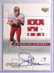 2001 Upper Deck Pros Piece History Joe Theismann autograph jersey *67737